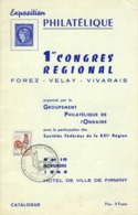 CATALOGUE EXPOSITION PHILATELIQUE # FIRMINY # LOIRE # 1963 # PREMIER CONGRES REGIONAL# PUBLICITES - Advertising