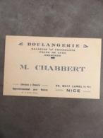 CARTE PUB BOULANGERIE M.CHABERT 20 QUAI DE LUNEL NICE - Visiting Cards