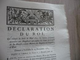 Déclaration Du Roi 25/11/1785 Exemption Droit De Marc D'or Trous De Vers - Decreti & Leggi