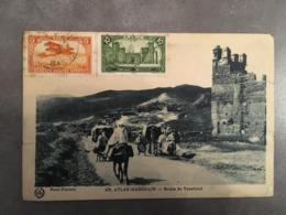 CPA MAROC TIMBREE SERVICE POSTAL AERIEN ATLAS MAROCAIN ROUTE DE TANAHOUT - Morocco (1956-...)