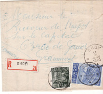 PLI RECOMMANDE CACHET ETOILE GHOY 1949 BELLE FRAPPE - Cachets à étoiles
