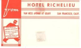ETIQUETA DE HOTEL  - HOTEL RICHELIEU -ETIQUETA DE EQUIPAJE  SAN FRANCISCO -CALIFORNIA - Etiquetas De Hotel
