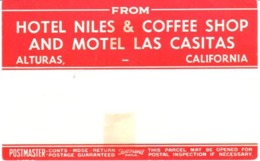 ETIQUETA DE HOTEL  - HOTEL NILES AND MOTEL LAS CASITAS -ETIQUETA DE EQUIPAJE  -ALTURA -CALIFORNIA - Etiquetas De Hotel