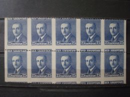 ALBANIA 1925 MNH** 10 X SPECTACULAR PERFORATION VARIETY - Albanie