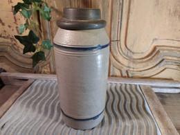Bouteille Pot à Tabac Grès D'Alsace Bouchon Etain 18e / 19ème / Cobalt Saltglaze - Ceramica & Terraglie