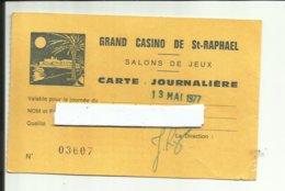 Saint-Raphaël - Carte Journalière Casino, Salons De Jeux, Voir Recto/verso (tout Frais +1,20 - Saint-Raphaël