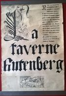 Affiche La Taverne Gutenberg Chalon Sur Saône  - Format 43 X 65 Cm - Encre De Chine - 1974 - Afiches