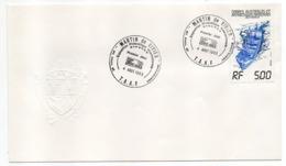 "TAAF -- 1983--FDC  Bateau ""Lady Franklin""  RF 5.00 --cachet MARTIN DE VIVIES--timbre Sec Du Blason - FDC"