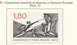 PIA - FRAN -1981 : Campionati Mondiali Di Scherma A Clermont-Ferrand    - (Yv 2147) - Scherma