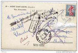Ar819 Retour Envoyeur CP Du Mont St Michel Pour Fécamp 1962 - Handstempel