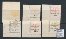 BELGIAN CONGO PRIVATE RAILWAY COMPANY VICICONGO 6th SET HERREWEGHE'S CLASSIFICATION 1FR TO 25FRS MINT NO GUM 25FRS LH - Other