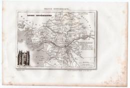 Carte Départementale De LA .LOIRE INFERIEURE  (La France Pittoresque) Gravure Originale  XIXe ( CAT 1538) - Carte Geographique