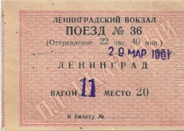 Billet De Train Union Soviétique Gare De Léningrad Mars 961 - Trenes