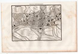 Carte DE NANTES (La France Pittoresque) Gravure Originale  XIXe ( CAT 1539) - Carte Geographique
