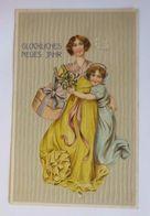 """""""Neujahr, Frauen, Kinder, Misteln, Mode""""  1909, Prägekarte ♥   - Neujahr"""