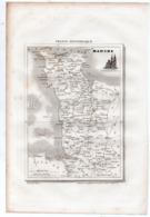 Carte Départementale De LA MANCHE (La France Pittoresque) Gravure Originale  XIXe ( CAT 1540) - Carte Geographique