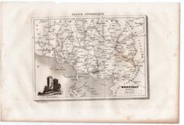 Carte Départementale Du MORBIHAN (La France Pittoresque) Gravure Originale  XIXe ( CAT 1541) - Carte Geographique