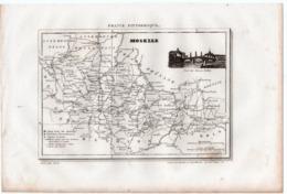 Carte Départementale De La MOSELLE (La France Pittoresque) Gravure Originale  XIXe ( CAT 1542) - Carte Geographique