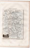 Carte Départementale De La MEUSE (La France Pittoresque) Gravure Originale  XIXe ( CAT 1543) - Carte Geographique
