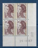 """FR Coins Datés YT 2243 """" Liberté 3F. Brun-violet """" Neuf** Du 29.12.87 - 1980-1989"""