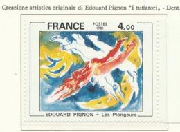 """PIA-FR -1981 : Arte Di Francia : Quadro Di Edouard Pignon """"I Tuffatori"""" E Di Alfred Manssier """"Alleluia""""  - (Yv 2168-69 ) - Francia"""