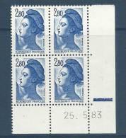 "FR Coins Datés YT 2275 "" Liberté De Gandon 2F80 Bleu "" Neuf** Du 1.6.83 - 1980-1989"