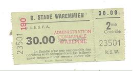 Tocket D'entrée Au Royal Stade Waremmien - WAREMME (b268) - Tickets D'entrée