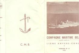 Compagnie Maritime Belge - Horaire N°19 Année 1953 - 3 Volets - Congo ,...(b268) - Programs