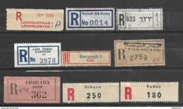 USED REGISTERED LABELS DIFFERENT COUNTRIES , KENYA , SOUTH AFRICA MOROCCO ETC. - Zonder Classificatie