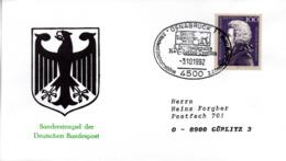 """(Bu-B3) BRD Sonder-Umschlag """"Int. R+V-Zettel Treffen - 2.Jahrestag Deutsche Einheit"""" EF BRD Mi1571 SSt.3.10.92 OSNABRÜCK - Covers & Documents"""