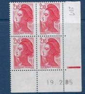 """FR Coins Datés YT 2319 """" Liberté 2F10 Rouge """" Neuf** Du 19.2.85 - 1980-1989"""