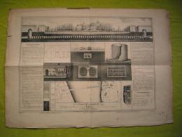 Affiche Lithographie 19ème Vues Et Dessins Route Sous La Tamise Par Brunel Ingénieur Français 43X60 Cm - Posters