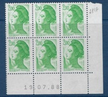 "FR Coins Datés YT 2484 "" Liberté 2F00 Vert "" Neuf** Du 19.0788 - 1980-1989"