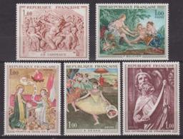 Oeuvres D'art: Enluminures - FRANCE - Carpaux, Boucher: Diane, Degas, Strasbourg - N° 1640-1641-1652 à 1654 ** - 1970 - Unused Stamps