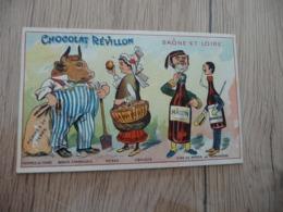 Chromo  Pub Publicitaire Chocolat Révillon Surréalisme Départements Gastronomique Saône Et Loire - Revillon