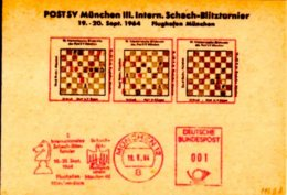 116ba Meter Slogan Postmark19-20.9.1964West Germany, Munich3rd International Lightning Chess TournamentColour: Red - Scacchi