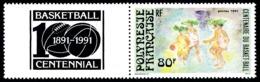 POLYNESIE 1991 - Yv. 382 ** Avec Vignette  Cote= 2,30 EUR - Basket-ball  ..Réf.POL24599 - Französisch-Polynesien