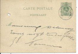 5c-postkaart - Afstempeling CLAVIER - COBA 8 - 1884-1891 Leopold II.