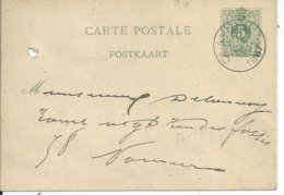 5c-postkaart - Afstempeling CLAVIER - COBA 8 - 1884-1891 Léopold II