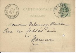 5c-postkaart - Afstempeling WASSEIGES - COBA 8 - 1884-1891 Léopold II