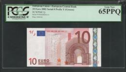 "Greece: 10 EURO  ""Y"" Duisenberg Signature! PCGS 65 PPQ (Perfect Paper Quality!) GEM UNC! - EURO"