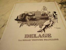 ANCIENNE PUBLICITE VOITURE  DELAGE  1931 - Voitures