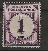 Malaysia - Japanese Occupation, 1943, JD34, Postage Due, Mint Hinged - Occupation Japonaise