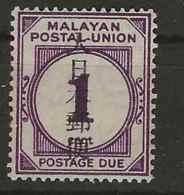 Malaysia - Japanese Occupation, 1943, JD34, Postage Due, Mint Hinged - Gran Bretaña (antiguas Colonias Y Protectorados)