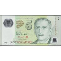 TWN - SINGAPORE 47d - 5 Dollars 2014 Polymer - Prefix 4AB UNC - Singapur