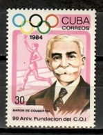 Cuba 1984 / Olympic Committee Coubertin MNH Comité Olímpico / Cu11728  C2-8 - Juegos Olímpicos