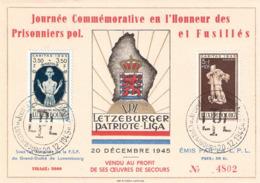 Journée Commémorative En L'Honneur Des Prisonniers Pol. Et Fusillés - Cartoline Commemorative