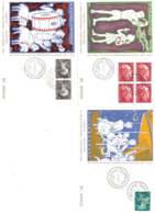 3 Cartes Caritas 1954 Folklore Edit. Bastian - Cartoline Commemorative