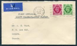 1939 GB London - Ottawa Canada First Official North Transatlantic Flight Cover. Shediac - 1902-1951 (Rois)