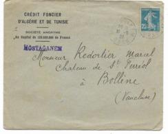 France Algérie-lettre CREDIT FONCIER -MOSTAGANEM Avec Semeuse Non Surchargèe Algérie 31.5.28 Vers BOLLENE - Poststempel (Briefe)